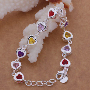 Jewelry - 925 Sterling Silver CZ Multi-Color Heart Bracelet